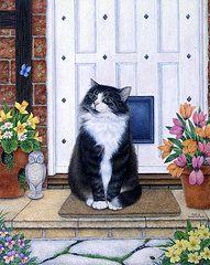 Anne Mortimer Art - Cat On Mat by Anne Mortimer