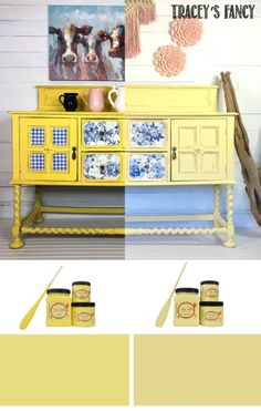 Which do you love 💛? Daisy vs Rebel Yellow chalk paints. #dixiebelle #yellow See the entire furniture makeover on traceysfancy.com | Dixie Belle Chalk Paint Colors | Dixie Belle Chalk Paint Furniture | Tracey Bellion | Yellow Chalk Type Paint | Yellow Painted Furniture | Yellow Paint Colors | How to Paint Furniture | Hutch Makeover | Buffet Makeover | DIY Paint Projects | Yellow Painted Furniture Makeovers | Yellow Farmhouse Furniture | Yellow Chalk Mineral Paint