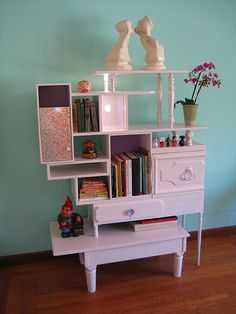Mix Match Table Book Shelf/ Pink/ Vintage Finds.