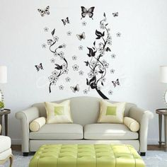 Butterflies and Flowers Removable Wall Sticker – Decor Home Ideas