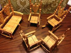 Vintage-Wood-Clothes-Pin-Child-Toys-5PC-Set-w-Rocking-Chair-Chairs-Bench