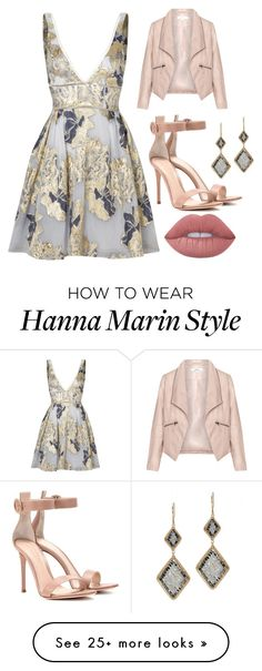 """Hanna Marin"" by aquamarine03 on Polyvore featuring Notte by Marchesa, Zizzi, Gianvito Rossi, Dana Kellin and Lime Crime"