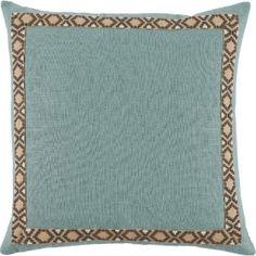 #10 Aquamarine Linen w/ Fossil on Tan Camden Tape Pillow