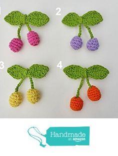 Handmade Crochet Cherry hairclips, girls hairpins from nabistyle http://www.amazon.com/dp/B01GQX40C8/ref=hnd_sw_r_pi_dp_66xwxb006M3K0 #handmadeatamazon