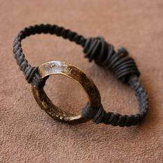 Antique African Ring Bracelet - Solid Brass Ring and Woven Linen