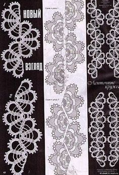"Photo from album ""Ленточное кружево"" on Yandex. Irish Crochet Patterns, Crochet Lace Edging, Crochet Borders, Crochet Diagram, Tatting Patterns, Crochet Chart, Lace Patterns, Crochet Trim, Filet Crochet"