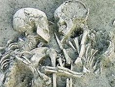 """The """"Lovers Of Valdaro"""" a 6,000-Yr-Old Tragic Italian Couple. For 6,000 yrs, 2 young lovers have been locked in an eternal embrace, hidden from the eyes of the world. Named for the little village near Mantua, in Northern Italy, where they were first discovered. The lovers are in fact 2 human skeletons, dating back to the Neolithic era, which were found in a necropolis in the nearby village of Valdaro in 07, huddled close together, face to face, their arms and legs entwined."""