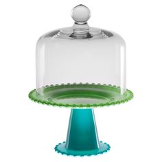 Domed Cake Plate in Blue & Green.