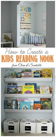Love this cute reading nook and easy DIY rain gutter bookshelves! Encourage your kids to read with a comfy space and books that are easily accessible.