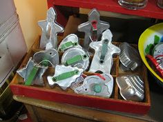 Metal cookie cutters!   I still use my grandmothers metal cutters. The must be at least 70 years old (   work great!)