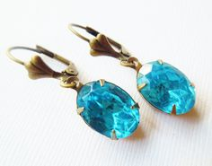 Vintage Aqua Jewel Glass Oval and Brass Earrings by TheSilverDog