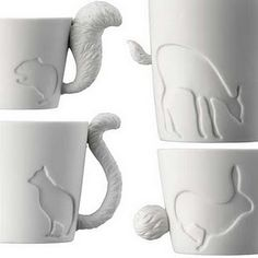 the tails! animal mugs tail handles pottery ceramics clay Clay Mugs, Ceramic Clay, Porcelain Ceramic, Ceramic Bowls, Ceramics Projects, Clay Projects, Pottery Mugs, Ceramic Pottery, Pottery Ideas