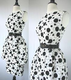 Vintage 50s Dress Party Day Bombshell Alfred Werber Pencil Skirt Full Peplum Tulle Pouf Huge Pockets Black & White Polka Dots 1950s Dresses