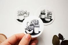 Stickers - 3 Cactus and Succulent Plant Illustration (more information)   We Love Cactus on Insta | Pinterest | Facebook