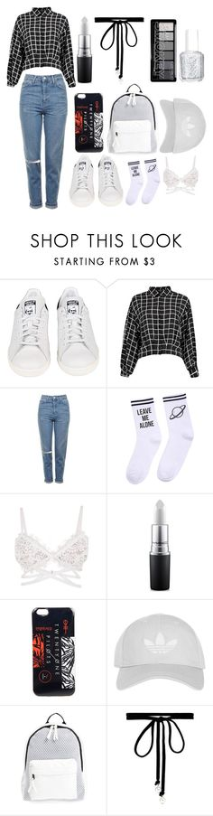 """""""Untitled #25"""" by durtedenise ❤ liked on Polyvore featuring adidas, Topshop, Yeah Bunny, MAC Cosmetics, Hot Topic, Poverty Flats, Joomi Lim and Essie"""