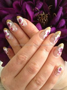 Pink & White Flowers Free Hand One Stroke Floral Nail Art Glitter French Manicure Stiletto Gold
