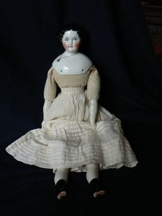 "Antique German 18"" Adelina Patti China Doll Elegantly Dressed Perfect Head 