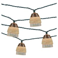 Let your light shine with this Threshold Indoor/Outdoor String Light, Plastic Iridescent Cover With Rope. Hang these outdoor lights in your patio, living room or dorm room to warm up your atmosphere inside or out. The plastic pearlescent cup-shaped covers wrapped with rope play up a casual decorative lighting perfect for any time of year. 12' long, 10 hanging globe lights.
