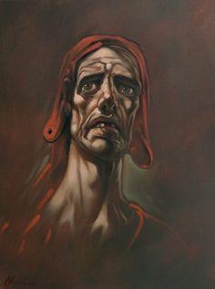 Title: Dante Artist: Peter Howson Medium: Oil on Canvas Year: 2010  Size:70 x 46 cm Location: http://www.flowersgallery.com/works/view/12995-dante