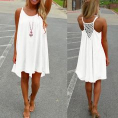Short Sexy Strap Beach Mini Dresses Chiffon Short Dress Sexy Strap Sleeveless Hollow Back Beach Mini Dresses Loose Casual Vestidos 7 Colors Boho Dress Plus Size, Boho Mini Dress, Boho Summer Dresses, Sexy Dresses, Short Dresses, Mini Dresses, Dress Summer, White Beach Dresses, Hot Dress