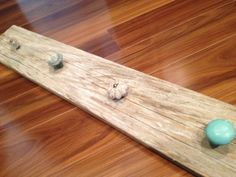 Rustic Shabby Chic Decor- Necklace Holder, Towel Rack or Decorative Hooks on reclaimed Barn Board, Aqua turquoise knobs on Etsy, $34.00