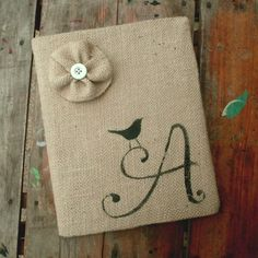 Bird Letter  Monogram Burlap Feed Sack Journal by nextdoortoheaven, $15.00
