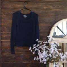 Navy long sleeve Navy meshy long sleeve! It is see through all the way around.  Tops Tees - Long Sleeve