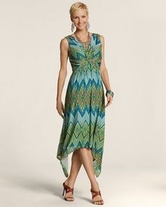 Chico's Women's Maida Handkerchief Ikat Dress