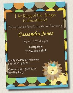 King of the Jungle baby shower invites
