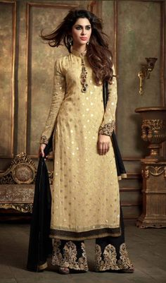 Beige Georgette Kameez With Palazzo Pant 61021