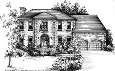 House Sketch, House Drawing, Tinta China, Architecture Design, 3d Drawings, Black And White Drawing, Drawing Skills, Watercolor Portraits, House Painting