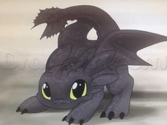 how to draw chibi toothless