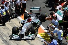 Michael Schumacher (GER) Mercedes AMG F1 W03 in parc ferme.  Formula One World Championship, Rd8, European Grand Prix, Race Day, Valencia, Spain, Sunday, 24 June 2012