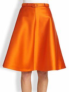 Carven Belted Satin A-Line Skirt
