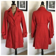 Mossimo red dress coat! Mossimo red dress coat! So beautiful!! Size small. No stains, rips, or missing buttons. Excellent condition. Dress is fully lined (chocolate brown lining), but lightweight. Great for springtime and upcoming summer evenings. I don't trade or do PayPal. Thanks!  Mossimo Supply Co Jackets & Coats