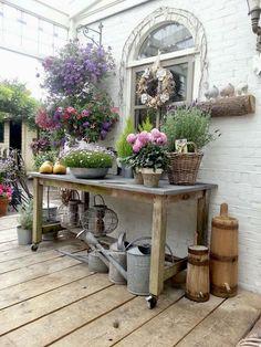 Garden Spaces, Garden Pots, Blue Garden, Garden Table, Patio Table, Rustic Gardens, Outdoor Gardens, Potting Tables, Shabby Chic Garden