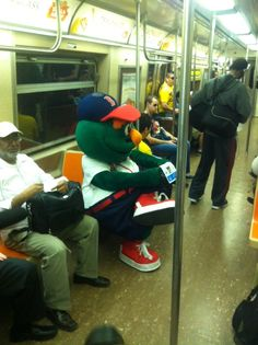 Wally rides the subway in NYC