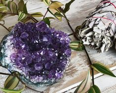 Sage & Amethyst Cluster Crystal Gift Set Perfect For | Etsy Burning Sage, Crystal Guide, Love Oil, Purple Agate, Protection Stones, Amethyst Cluster, Crystal Gifts, Crystal Ball, Crystals