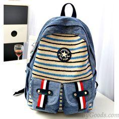 New Fashion Cowboy Stripes Canvas Backpack