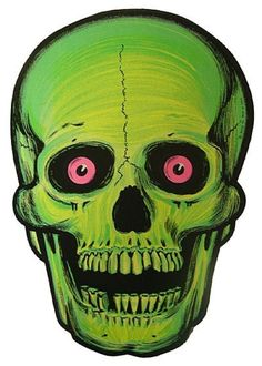 slime green skull with neon pink eyeballs, i mean come onnnn!
