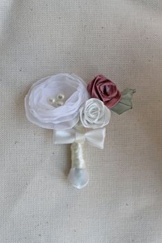 buttonhole raspberry in cream by olesyablanche on Etsy, $12.00