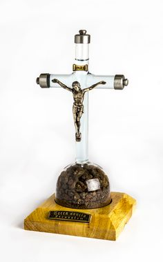 Freestanding Large Glass Crucifix With Silver Plate Detailing On Wooden Base With Holy Water And Earth | Yardenit.com  The earth is from Jerusalem,Nazareth and Bethlehem and the water is from the Jordan River