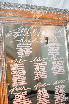 by Maurelle Calligraphy : Elegant wedding reception seating chart idea; Mirror Seating Chart, Reception Seating Chart, Table Seating Chart, Wedding Reception Seating, Seating Chart Wedding, Wedding Signage, Wedding Reception Decorations, A Table, Wedding Table