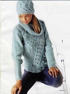 Пуловер спицами с ассиметричной вставкой