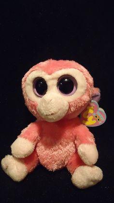 d9a85c796dd Retired Ty Beanie Boos Razberry the Monkey Pink Tags purple eyes raspberry  Ty  Rare Beanie