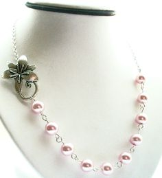 Bridesmaid Necklace, Blush Pink Necklace, Orchid Flower Necklace, Wedding Jewelry, Summer Fashion. $25.00, via Etsy.