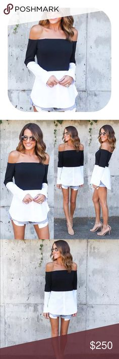 🎉comingsoon🎉 off shoulder black white tunic Made of polyester.                                                   Brand new with tag.                                                 Bundle discount 15%.                                              If you want more than two items let me know, I can make you a list with more discount. Tops Tees - Long Sleeve