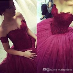 2016 Burgundy Sweetheart Lace Quinceanera Dresses Vestidos De Quince Anos Off The Shoulder Puffy Tulle Sweet 16 Ball Gowns Custom Made Online Dress Quinceanera Decorations From Ourfreedom, $132.07| Dhgate.Com