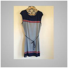 Max Edition Navy/white polka dot dress Beautiful Color combination navy white with coral strips and belted waist.new with tags size XL but will fit L too. Any questions please ask  Max Edition Dresses