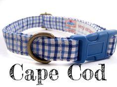 Blue White Preppy Plaid Dog Collar  Organic Cotton  by veryvintage
